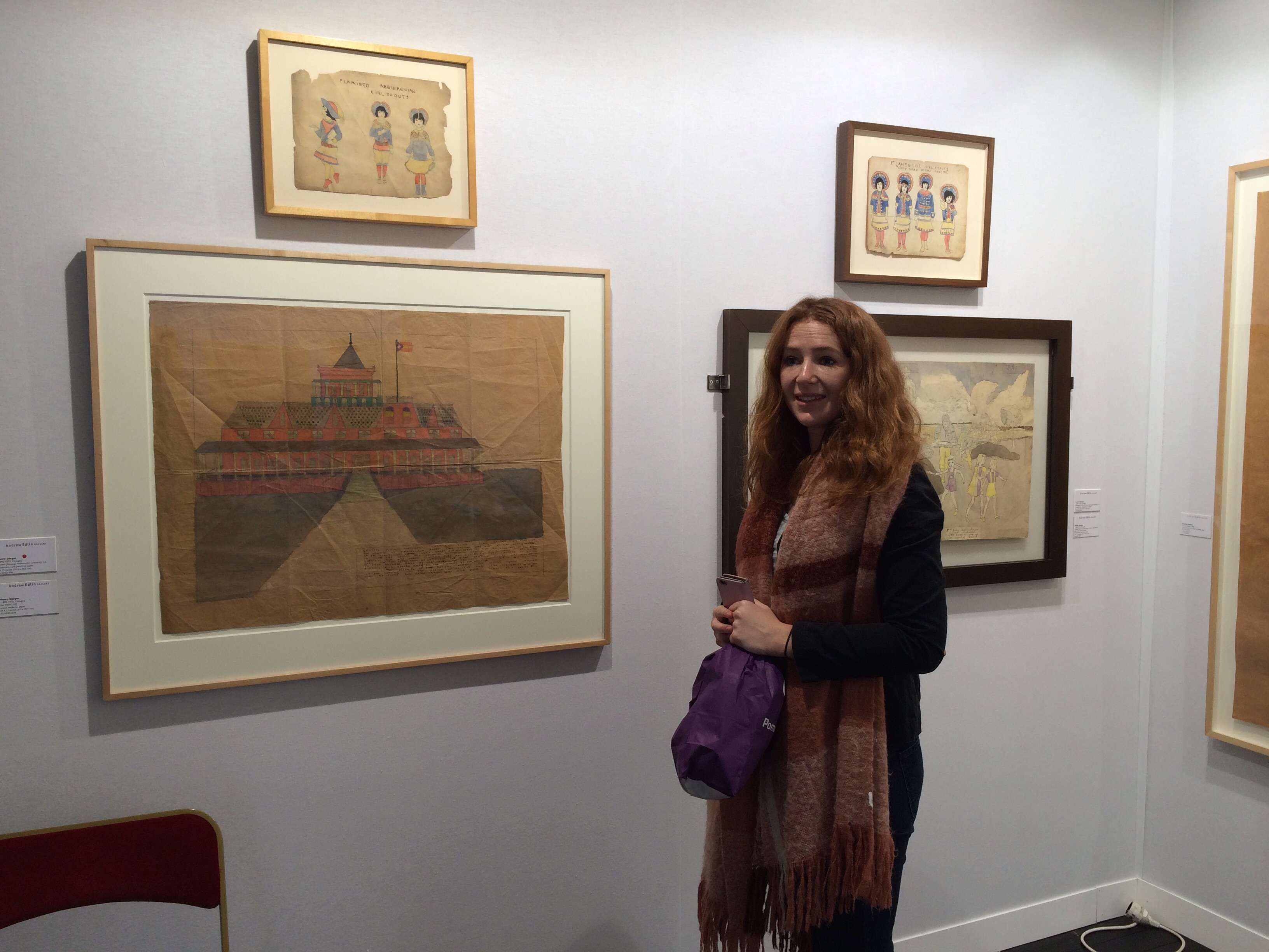 Hannah Whitlock with the Henry Darger works